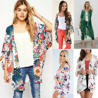 Womens Floral Print Boho Kimono Cardigan Casual 3/4 Sleeve Jacket Summer Tops