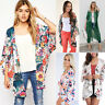 Womens Floral Print Boho Kimono Cardigan Ladies Casual 3/4 Sleeve Jacket Summer