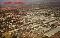 Old Chrome Postcard CA J394 Aerial Photo of Downtown Fullerton New City Hall