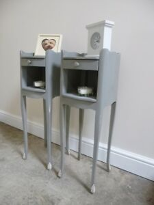 High Leg Bedsides Tables In Mercury Grey - French Style Narrow Bedsides