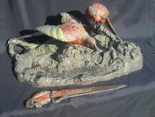 Antique Cold Painted Australia Bronze Macaw Birds Very Nice ink deck set