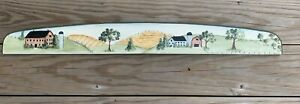 Signed Wooden Wall Art of Barn Farm scene hand Painting