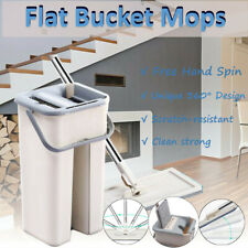 Self Cleaning Drying Wringing Mop Bucket System Flat Floor + Microfiber Pads