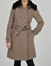 NWT Tahari Womens Wool Double-Breasted Military Jacket Coat Size 2 in Mink