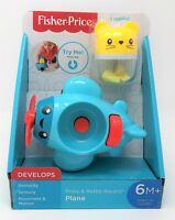 Fisher-Price Press and Rattle Blue Plane Racer Baby Toy