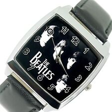 THE BEATLES BAND BF WATCH Steel LEATHER ROCK MUSIC LEGENDS SQUARE CD WATCH UK E2