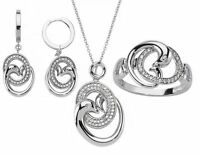 Schmuckset 925 Sterling Silber Zirkonia Ring Ohrringe Kette Anhänger Ohrschmuck