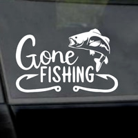 "6"" Gone Fishing Fish Decal-Outdoors-Fish-Sport Vinyl Window Car Laptop Decal"