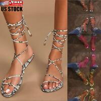 Ladies Flat Lace Up Leg Strappy Sandals Women's Summer Beach Casual Shoes Size