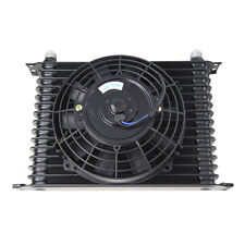 """15 Row 10AN Racing Aluminum Transmission Oil Cooler + 7"""" Electric Fan"""