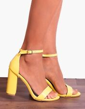 BRIGHT YELLOW ANKLE STRAP PEEP TOES STRAPPY SANDALS HIGH HEELS SHOES SIZE 3-8