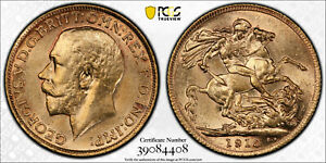 1913 Great Britain Gold Sovereign PCGS MS62