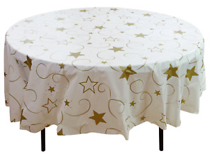 """12 Plastic Party Table Cover-84"""" Round- Disposable Tablecloth- Star- Graduation"""