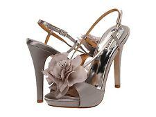 NIB Badgley Mischka Zabrina Flower wedding heel sandal open shoes ASH GRAY 5,5 M