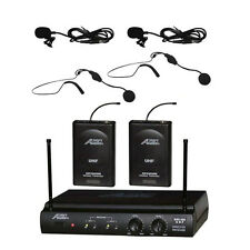 6032Uz Uhf Dual Channel Headset & Lavalier Wireless Microphone System Cordless