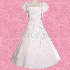 571bbb289 Beaded Satin Dress Bolero Wedding Flower Girl Bridesmaid Occasion White  5-6y 097