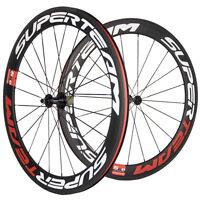 700C Clincher Carbon Road Bike Wheelset Superteam 60mm Ultra Light Carbon Wheels