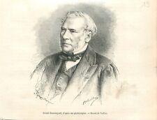 Portrait de Jean-Baptiste Boussingault chimiste botaniste à Paris GRAVURE 1888