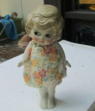 Antique Bisque Doll C1930 Blonde w/Side Glanzing Eyes Handmade Clothes 7in Japan