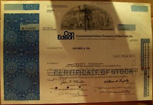 Stock certificate Consolidated Edison Con Ed. Payee Science & Co 1975