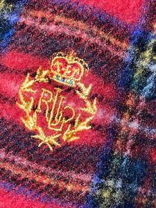 POLO RALPH LAUREN RED PLAID SCOTLAND 100% LAMBSWOOL SCARF BKACK LABEL RL CREST