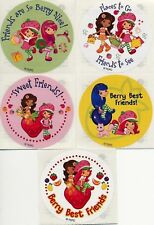 5 X Circle Stickers Strawberry Shortcake Sweet Friends Berry Best Friend