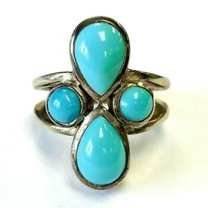 ARYA STERLING SILVER CABOCHON TURQUOISE RING SIZE 6.5