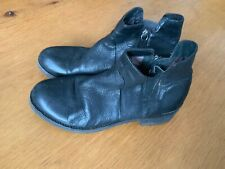 GEOX RESPIRA WOMENS  BLACK LEATHER ANKLE BOOTS SIDE ZIP Size Uk 8 Eu 41