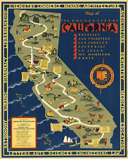 University Campuses of California Map Wall Art Poster Decor Vintage History