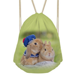 Rabbit Cat Drawstring Bag Backpack School Bookbag Sackpack Daypack Women Girls