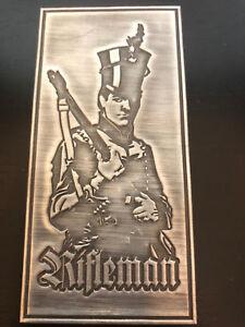 RGJ RIFLES Rifleman PEWTER 48mm x 100mm adhesive back
