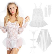 Womens White Wedding Bride Lace Sexy Lingerie Set Babydoll Cosplay Costume Night