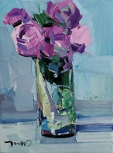 JOSE TRUJILLO Oil Painting IMPRESSIONISM Contemporary Collectible 9X12 FLORAL