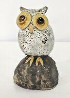 "Artisan Crafted Ceramic Burrowing Owl 3.25"" Statue Primitive Folk Sculpture Art"