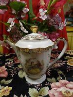 belle cafetiére porcelaine limoges IMpéRIALscénes galantes ,belles dorures