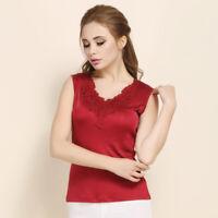 100% Silk Knit Women's Sleeveless Tank Top Lace V Neck Vest Top Blouse