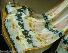 "100% Pure Silk Scarf""BluGreen Harmony+GOLD-Threds/Georgette/Soft,Gentle-NEW*BR"