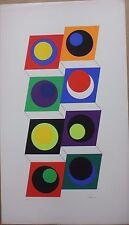 CLAISSE Geneviève Sérigraphie signée numér. abstrait géométrique 1967 cercles