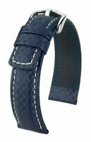 Hirsch Carbon 100 m water-resistant 22 mm blue watch strap, size L