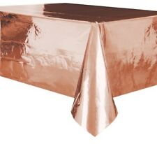 METALLIC ROSE GOLD PLASTIC TABLECOVER RECTANGLE PARTY SUPPLIES TABLECLOTH