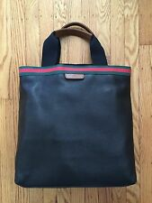 Gucci Men's Signature Web Black Leather Tote with Laptop Protection
