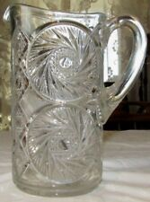 "Antique Beautiful McKee Glass Aztec Spinner Daisy Pattern 9"" Water Pitcher"