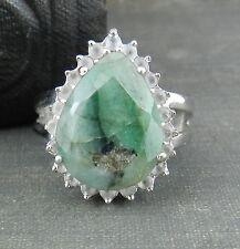 ADI India Sterling Silver and Natural Green Pear Shaped Stone Ring