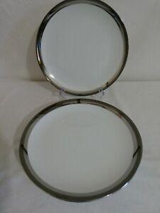 Vintage Seyei Fine China Dinner Plates X4 Platinum #1971 Japan 27cm Diam