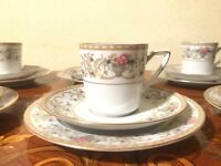 Set of 6 Cups Saucer n Dishes German Bavaria Eschenbach Porcelain Coffee