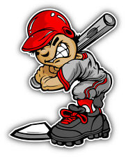 Fast Pitch Baseball Boy Cartoon Player Car Bumper Sticker Decal 4'' x 5''