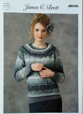 Knitting Pattern Ladies Womans Round Neck Sweater Jumper DK Double Knit