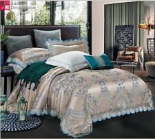 4tlg King Style Bedding Duvet Cover Cushion Hounds Single Silver Blue