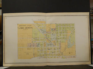 Wisconsin Walworth County Map 1907  Lake Geneva 2-Double Pages K20#52
