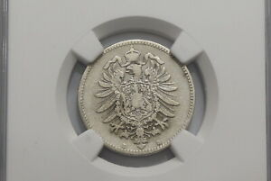 GERMANY 1 MARK 1877 B VERY RARE NGC VF 25 ONLY 2 FINER